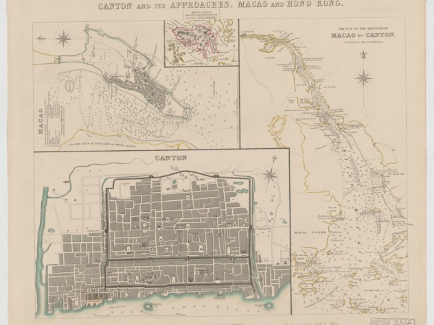 Belcher, Edward. Canton and its approaches, Macao and Hong Kong. Map. London: George Cox, Jan. 1st 1853