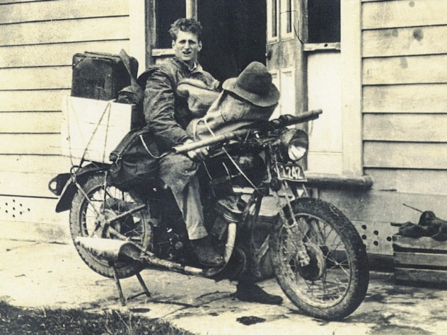Marden in New Zealand on his way from the farm to Wellington to try to leave for America, 1942