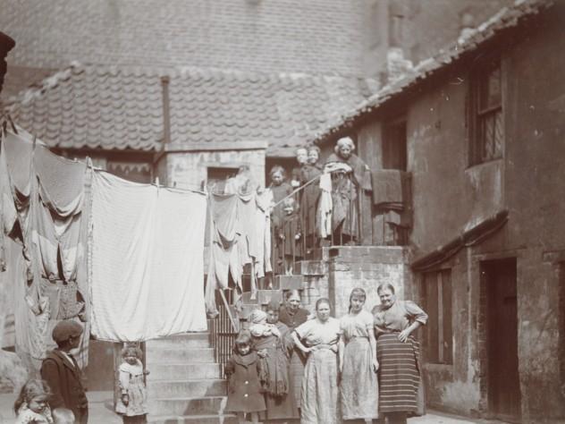 "<i>Social Settlements: Great Britain, Scotland. Glasgow. ""Queen Margaret College Settlement"": Queen Margaret College Settlement, Anderston, Glasgow, Scotland: Rear Tenements, Clyde St.,</i> c. 1908. Gelatin silver print."