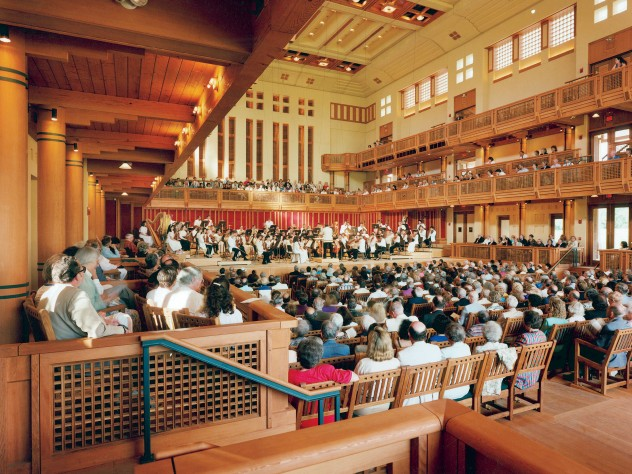 The interior of Ozawa Hall during a performance