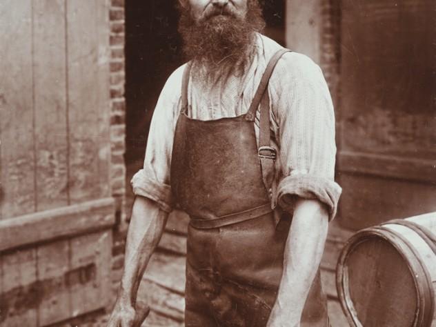 Waldemar Frans Herman Titzenthaler, <i>Industrial Problems, Types of Working People: Germany. Blacksmith; Cooper; Boiler-Maker; Stone-Dresser; Toy-Maker; Washwomen; Marketwomen: Types of German Workmen: Copper, </i> 1900. Glossy collodion silver print
