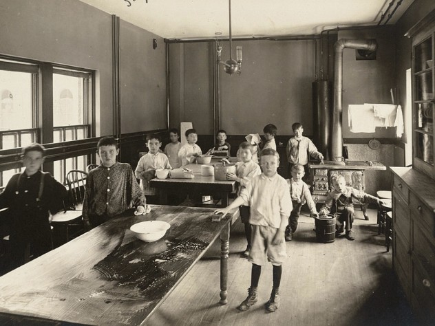 <i>Social Settlements: United States. Massachusetts. Boston. South End House: South End House, Boston, Mass.: Vacation School 1907: Boys' Cooking Class, </i>1907. Gelatin silver print.