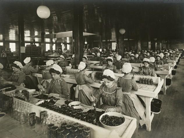 <i>Industrial Problems, Welfare Work: United States. Pennsylvania. Pittsburgh.H.J. Heinz Company: Bottling Department, </i> c. 1903. Gelatin silver print.