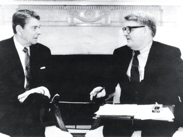 """Ronald Reagan wrote in his presidential diary for September 12, 1988: """"Then a briefing for a pleasant interview which took place at 11:30 with Warren Brooks [sic] my favorite Ec. columnist."""""""