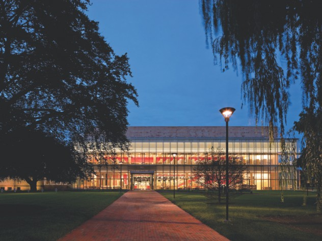 The main entrance of the main library in Cambridge, Massachusetts, fronts directly on a park.