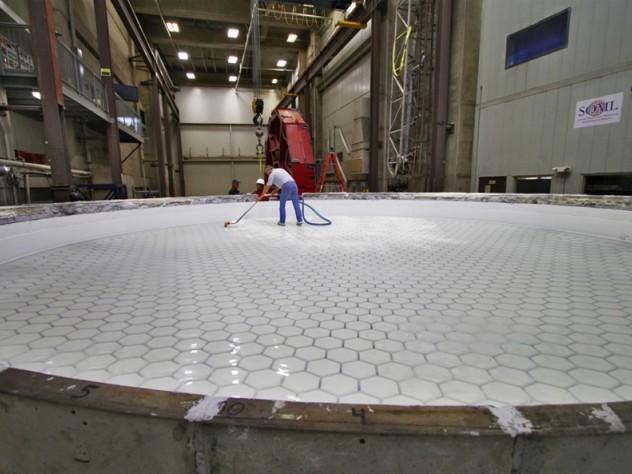 Cleaning the second GMT mirror blank at the Steward Observatory Mirror Lab beneath Arizona Stadium, Tucson