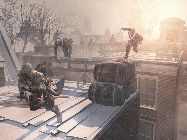 A rooftop chase from the <i>Assassin's  Creed III </i>video game