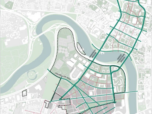 Harvard's long-term vision of pedestrian circulation in Cambridge and Allston envisions a series of blocks arranged like the rungs of a ladder.