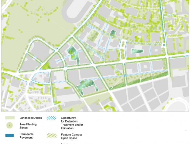 """Harvard's long-term landscap-concept plan also shows pedestrian walkways and the envisioned """"urban forest"""" canopy."""