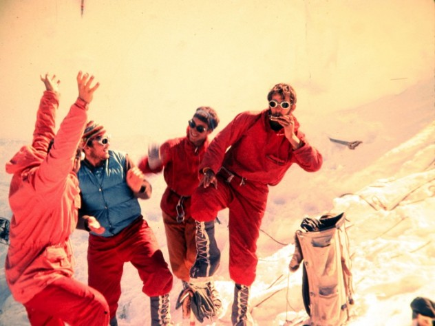 David Roberts, Peter Carman, Hank Abrons, and Rick Millikan at Camp Six on July 7, at an altitude of 12,600 feet