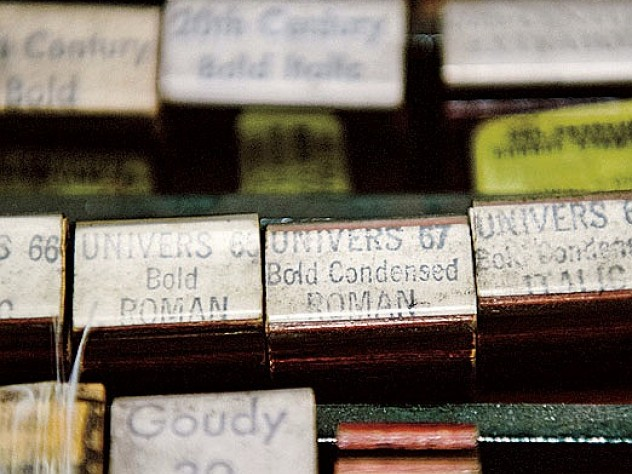 Stamps used to label wrapped packages of fonts of type