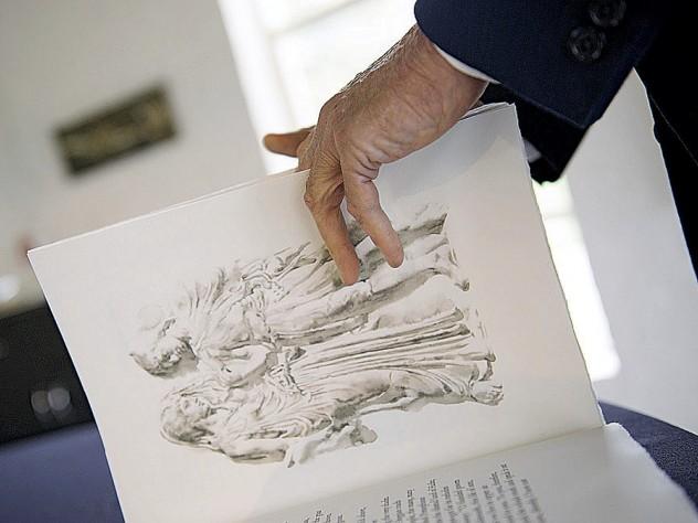 Andrew Hoyem with <i>Stone</i> <i>from Delphi</i>, the new Seamus Heaney volume