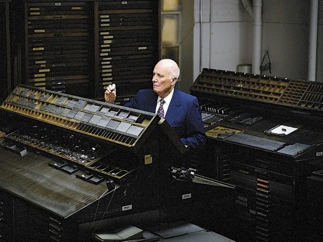 "Andrew Hoyem with Arion's ""California"" job cases of cast letterpress type"