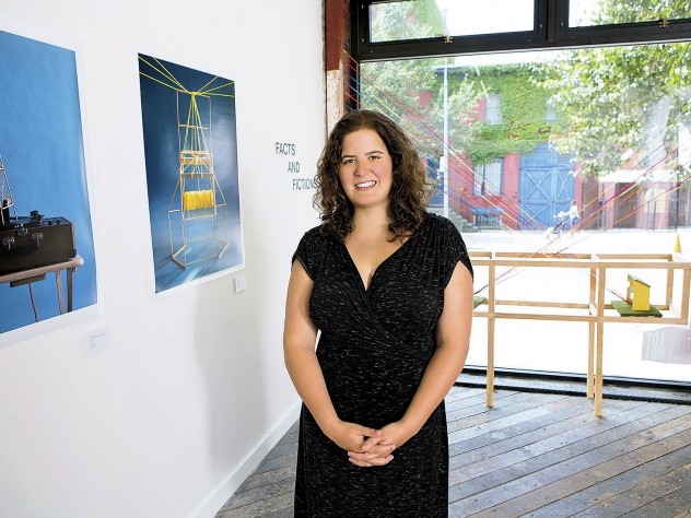 At her gallery, Emma Katz promotes sophisticated original work by young artists such as sculptor/photographer David Rodriguez, represented here (left to right) by <i>A Love Song Played at a Very Specified Frequency, Holding Device,</i> and <i>The Thing About Distance.</i>