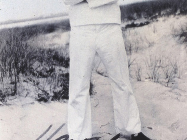 Henry Beston (in a Coast Guard uniform) on the Outer Beach, Cape Cod, in the early 1920s