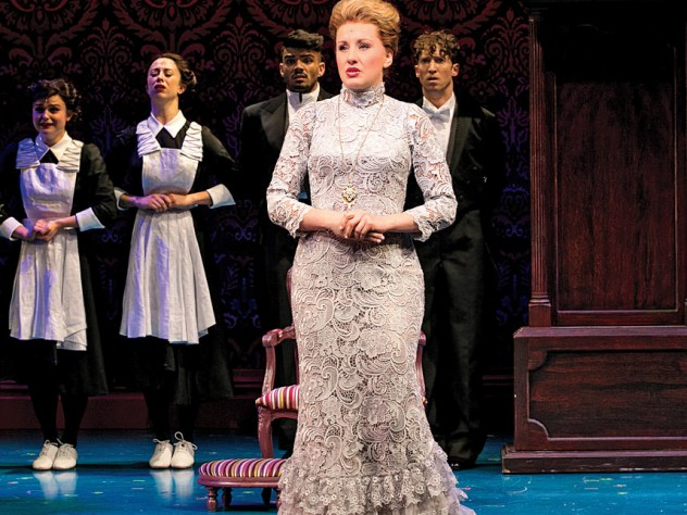 Designers picked through thousands of swatches to find the Italian lace for this gown worn by actress Jeanna de Waal, who plays Mary Barrie in Finding Neverland.