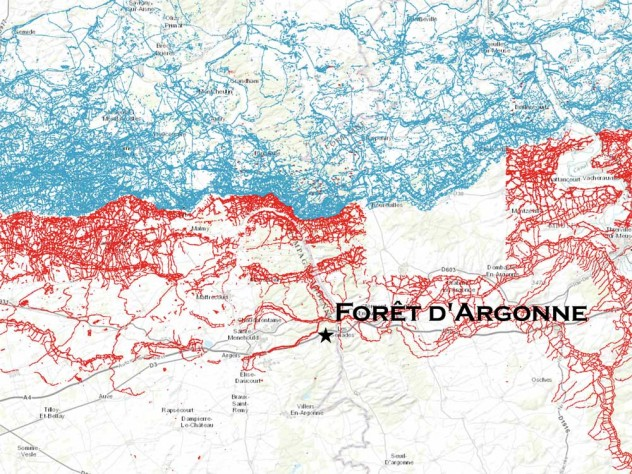 A detail of the preceding map showing trenches in the Argonne Forest