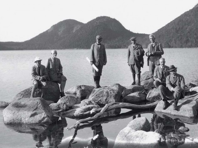 Dorr (at far right) at Jordan Pond with the Path Committee in 1923