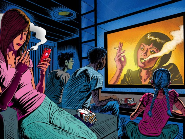 Teenagers watch a television screen showing a glamorous actress smoking.