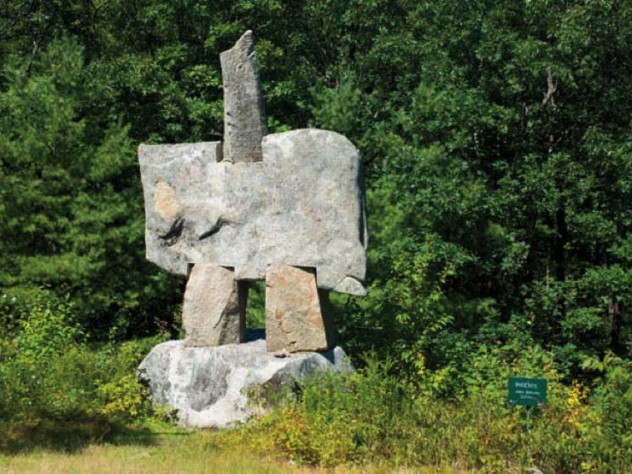 """The Phoenix,"" a 15-foot-tall granite sculpture by Janis Karlovs"