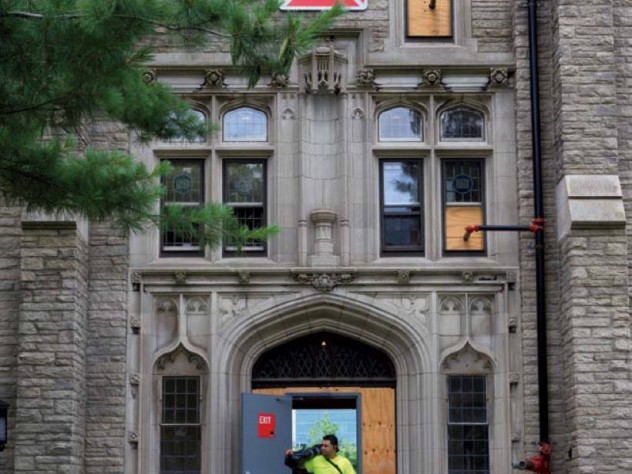 Photograph of construction signage at Harvard Divinity School's Andover Hall