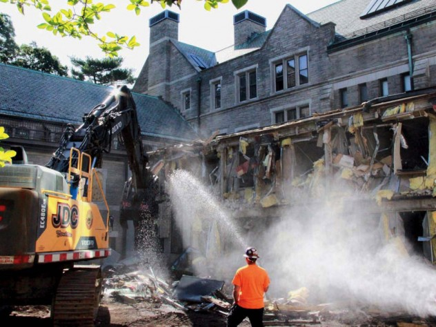 Photograph, demolition at Harvard Divinity School's Andover Hall