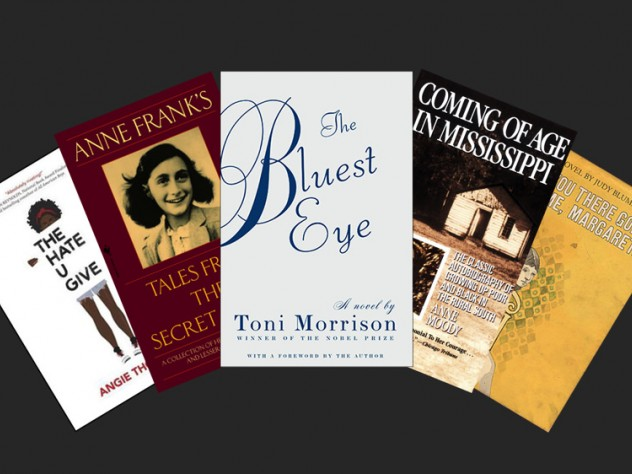 """Book jackets for """"The Hate U Give,"""" """"The Diary of Anne Frank,"""" """"The Bluest Eye,"""" """"Coming of Age in Mississippi,"""" and """"Are You There, God? It's Me, Margaret"""""""