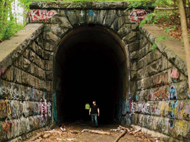 """The """"Clinton Train Tunnel,"""" built in 1903 near the Wachusett Reservoir, goes """"from nowhere to nowhere."""""""