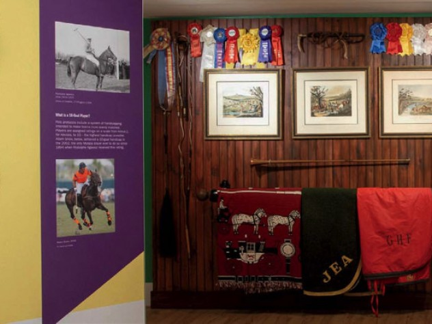 Tack-room gear like bridles, blankets, and saddles is also on display.
