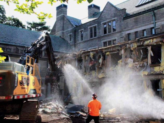 Photograph, demolition at Harvard Divinity School's Andover Hall