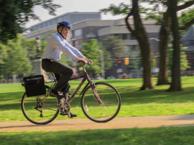 Mike Burke riding his bike in Cambridge