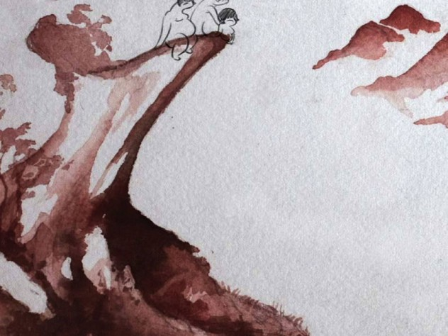 """Another image from """"Reneepoptosis"""": three slightly human figures, drawn in ink, on the edge of a cliff, part of a background done in watercolor"""