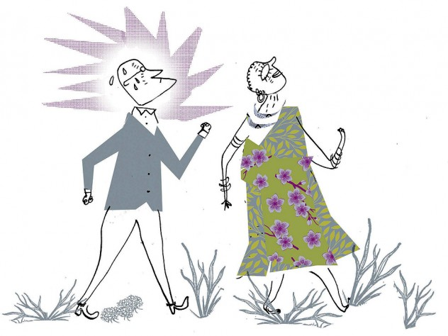 Illustration of a professor striving to keep up with a fast-walking elderly Hadza woman