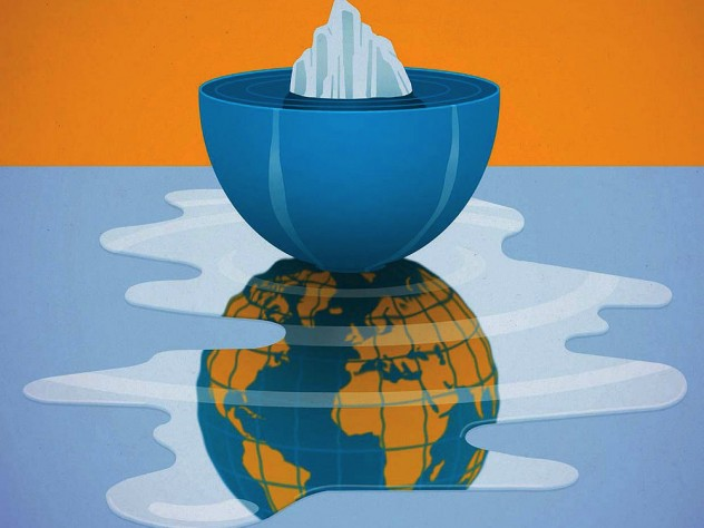 Illustration of ice melting and spilling out of a bowl