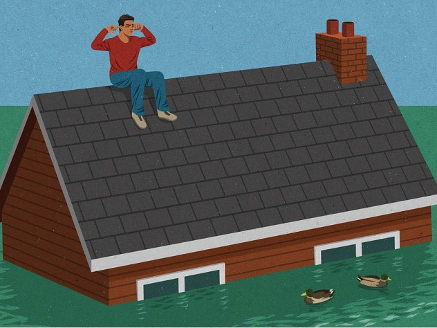 Illustration of a man plugging his ears on the roof of his house as floodwaters engulf the building