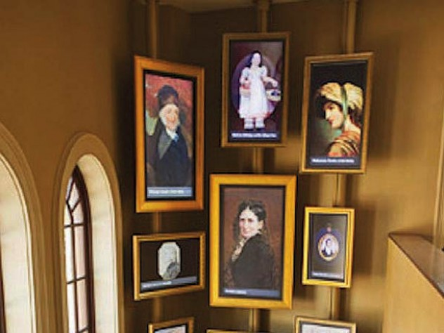 Portraits and exhibits inside the visitor's center illustrate Jewish Colonial history