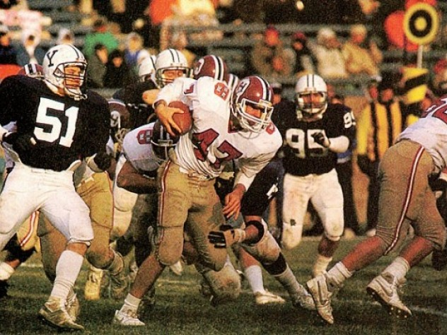 November 21,1987—Harvard beats Yale in a 14-10 cliffhanger to take the Ivy League title.