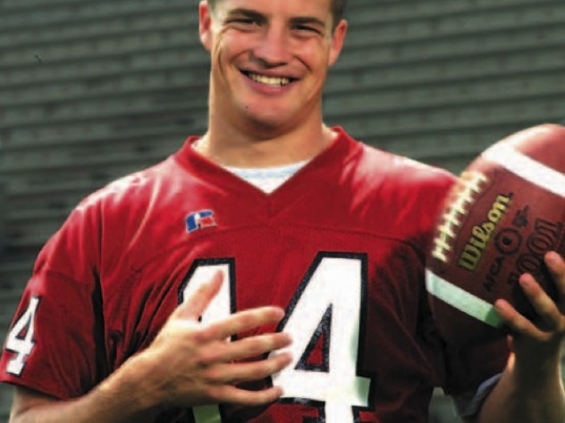 Quarterback Ryan Fitzpatrick '05. His ability to throw, scramble, and run creates havoc for opposing defenses.