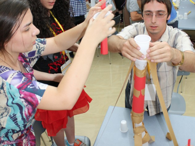 Students participate in team-building activities to experience and explore first-hand the dynamics of group interactions.