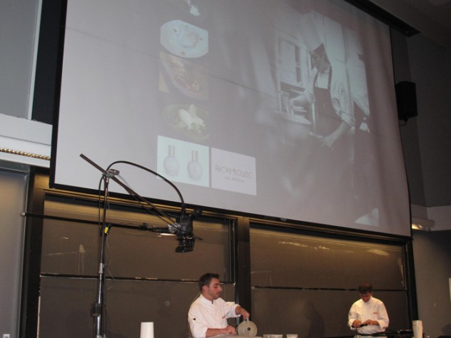 Chef Jordi Roca pours liquid nitrogen into a metal bowl as he makes his chocolate sorbet.