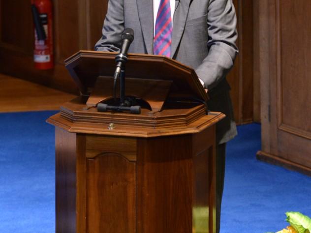 Harvard president emeritus Derek Bok addresses the academic summit during the six-hundredth anniversary celebration for the University of St Andrews on September 14.