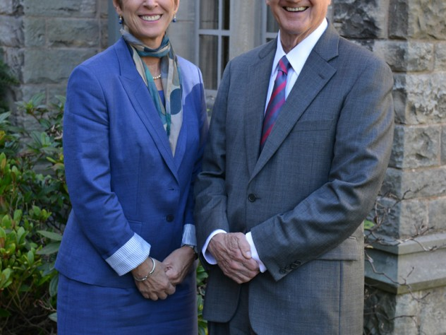 Derek Bok with Louise Richardson, Principal and Vice-Chancellor, University of St Andrews; Richardson was executive dean of the Radcliffe Institute for Advanced Study before moving to Scotland to assume her current post in 2009.