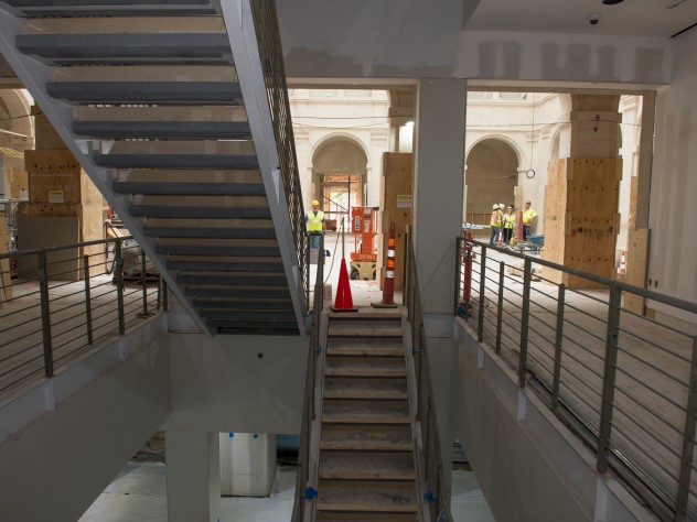 A central staircase, situated in a direct line between the original Quincy Street and new Prescott Street entrances, is flanked by elevators (three for passengers and one for art). Large pieces of modern and contemporary art will likely hang in the double-height spaces of the stairwells.