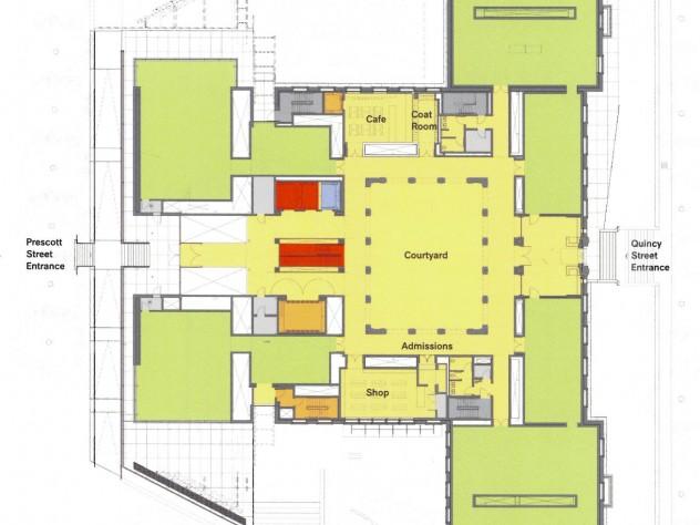 "Level 1 - View <a href=""http://harvardmagazine.com/sites/default/files/img/article/0913/Level1sm.jpg"">larger floor plan</a>"