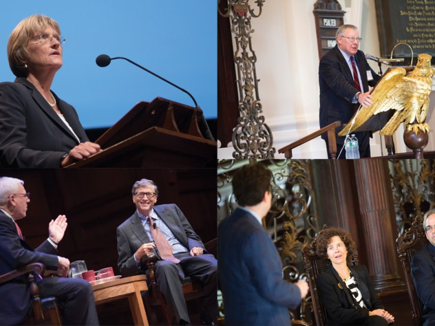 Scenes from a campaign celebration, clockwise from top right: campaign co-chair, Corporation member, and University treasurer James F. Rothenberg begins the day's events in Memorial Church; faculty panelists Jonathan L. Zittrain (back to camera), Rebecca Henderson, and Peter Sorger; a conversation on philanthropy between campaign co-chair David M. Rubenstein (left) and Bill Gates; President Drew Faust's address in Sanders Theatre