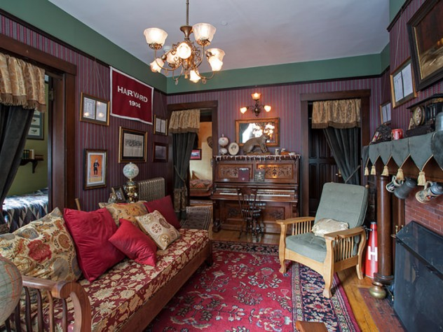 A view of the restored Franklin Delano Roosevelt Suite in Adams House. A piano was required because both FDR and his roommate belonged to the Glee Club.