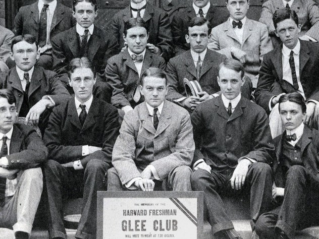 FDR (first row, second from left) and his roommate Lathrop Brown (first row, far right) pose with fellow Glee Club members in the fall of their freshman year.