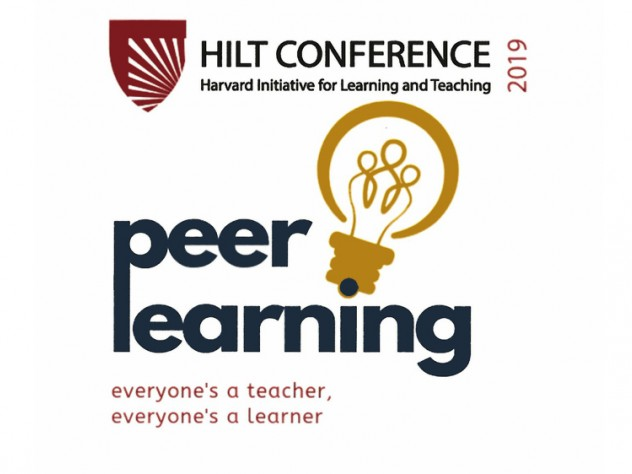 "A scan from the program for the eighth annual conference of the Harvard Initiative for Learning and Technology, including the words ""peer learning"" and a drawing of a lightbulb."