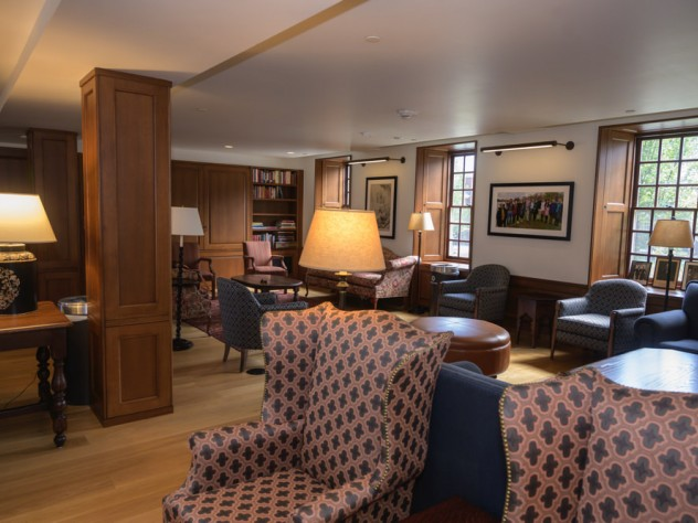 The inside of the Lowell House senior common room.