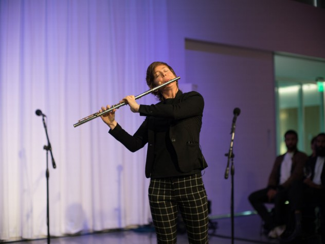 Music professor Claire Chase plays the flute.